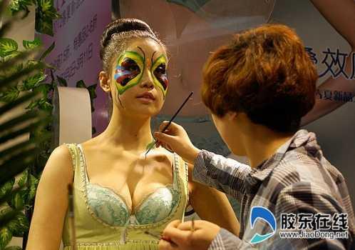人体裸模彩绘引爆眼球 裸模穿彩绘运动服