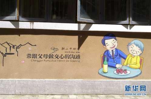 大学生手绘新二十四孝行动标准墙画 新二十四孝标准